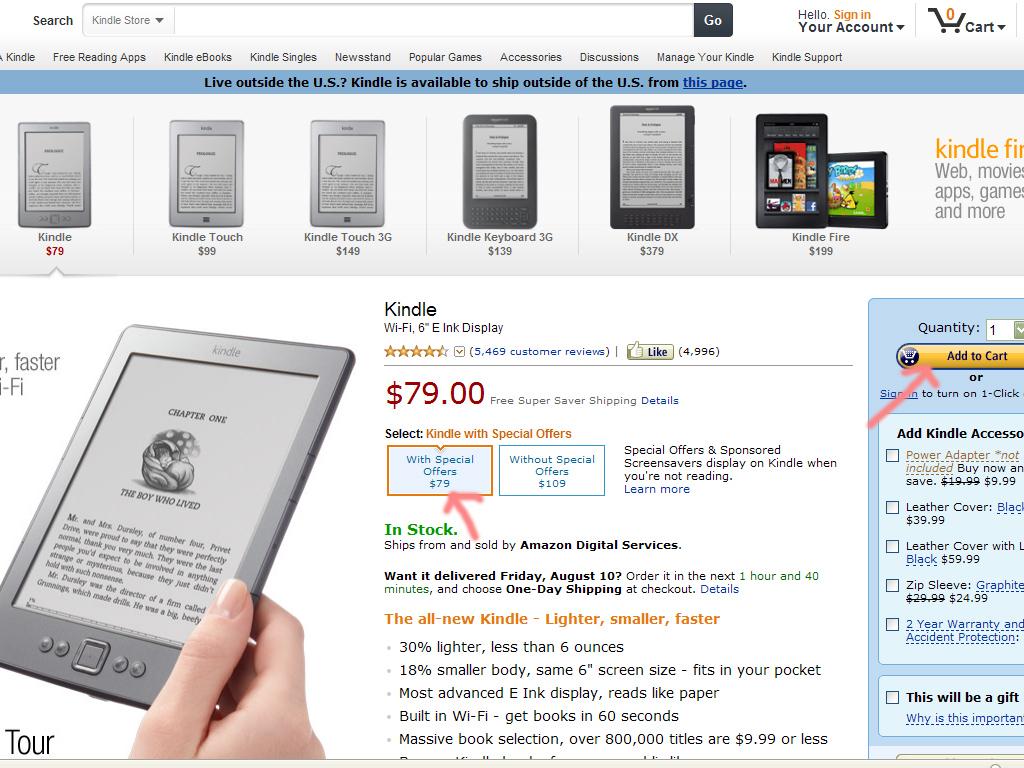 изображение: покупка на amazon.com - шаг 1